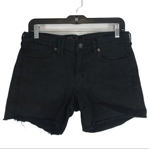 Madewell Black Wash Denim Shorts Size 28